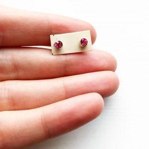 Tiny & chic pink diamond stud earrings